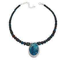 Jay King Sterling Silver Blue Forest Stone Pendant with Necklace