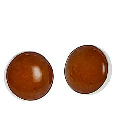 Jay King Sterling Silver Butterscotch Amber Round Stud Earrings