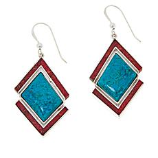 Jay King Sterling Silver Chrysocolla and Red Coral Earrings