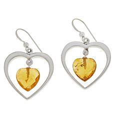 Jay King Sterling Silver Citrine Heart Drop Earrings