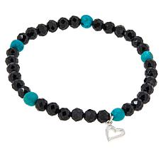 Jay King Sterling Silver Colored Gemstone Bead Stretch Bracelet
