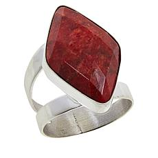 Jay King Sterling Silver Diamond-Shaped Red Coral Ring