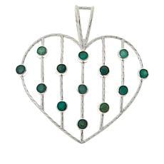 Jay King Sterling Silver Emerald Multi-Stone Open Heart Pendant