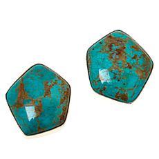 Jay King Sterling Silver Ginkgo Spruce Turquoise Earrings