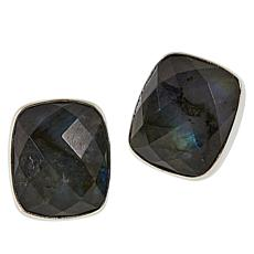 Jay King Sterling Silver Labradorite Cushion Stud Earrings