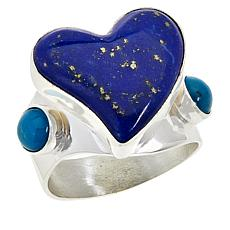 Jay King Sterling Silver Lapis and Turquoise Heart Ring