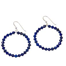 Jay King Sterling Silver Lapis Bead Hoop Drop Earrings