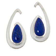 Jay King Sterling Silver Lapis Open Swirl Earrings