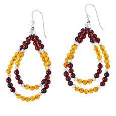 Jay King Sterling Silver Light-Dark Amber Double Loop Drop Earrings