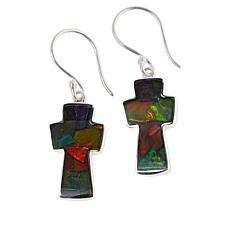 Jay King Sterling Silver Multi-Color Ammolite Cross Earrings