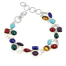 Jay King Sterling Silver Multi-Color Multi-Gemstone Bracelet