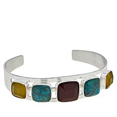 Jay King Sterling Silver Multi-Color Multi-Gemstone Cuff Bracelet