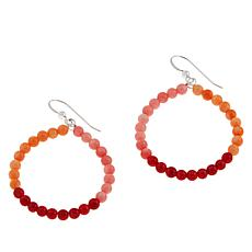 Jay King Sterling Silver Multicolor Bamboo Coral Hoop Earrings