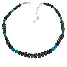 Jay King Sterling Silver Nephrite Jade and Turquoise Beaded Necklace