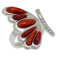 Jay King Sterling Silver Orange and Red Coral Butterfly Ring