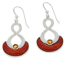 Jay King Sterling Silver Orange Coral and Citrine Drop Earrings