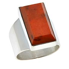 Jay King Sterling Silver Orange Coral Rectangular Ring