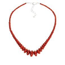 Jay King Sterling Silver Orange-Red Coral Bead Necklace