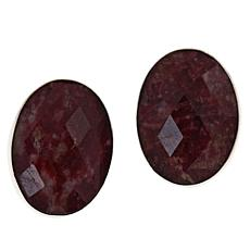 Jay King Sterling Silver Oval Thulite Stud Earrings