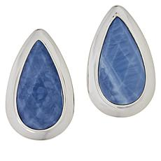 Jay King Sterling Silver Pear-Shaped Dream Blue Opal Stud Earrings