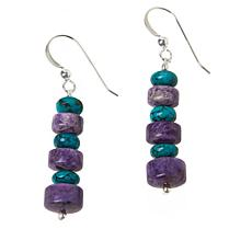 Jay King Sterling Silver Purple Charoite and Turquoise Drop Earrings