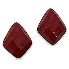 Jay King Sterling Silver Red Coral Stud Earrings