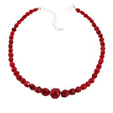 Jay King Sterling Silver Red Sea Bamboo Coral Beaded Necklace