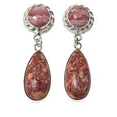 Jay King Sterling Silver Rhodochrosite and Leopard Skin Stone Earrings