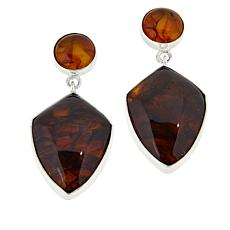 Jay King Sterling Silver Round and Freeform Amber Drop Earrings
