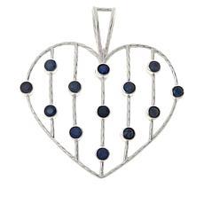 Jay King Sterling Silver Sapphire Multi-Stone Open Heart Pendant