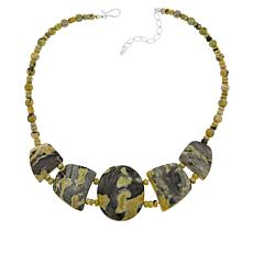 Jay King Sterling Silver Serpentine and Aguite Necklace