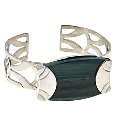 Jay King Sterling Silver Swamp Bog Petrified Wood Cuff Bracelet