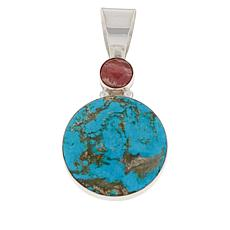 Jay King Sterling Silver Turquoise and Rhodochrosite Pendant