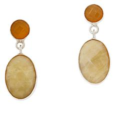 Jay King Sterling Silver Yellow Opal Oval Drop Earrings