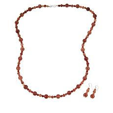 Jay King Strawberry Quartz Bead Necklace and Earrings Set
