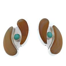 Jay King Striped Agate and Green Opal Sterling Silver Earrings