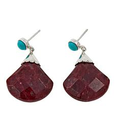 Jay King Thulite and Angel Peak Turquoise Drop Earrings