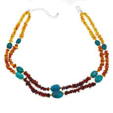 "Jay King Tri-Color Amber and Turquoise Bead 18"" Necklace"