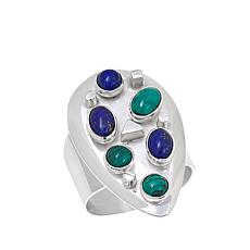 Jay King Triangular Lapis and Malachite Sterling Silver Ring