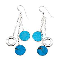 Jay King Triple Round Turquoise Drop Sterling Silver Earrings