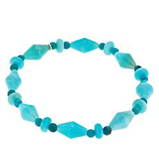 Jay King Turquoise and Aquamarine Beaded Stretch Bracelet