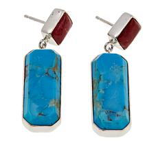 Jay King Turquoise and Kandy Apple Red Coral Sterling Silver Earrings