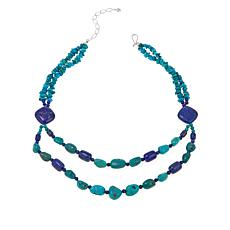 "Jay King Turquoise and Lapis Bead 18"" Sterling Silver Necklace"