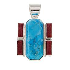 Jay King Turquoise and Red Coral Sterling Silver Pendant