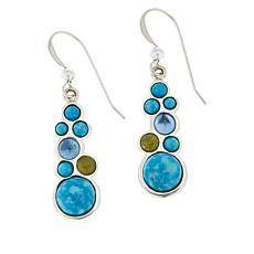 Jay King Turquoise, Blue Topaz and Peridot Drop Earrings
