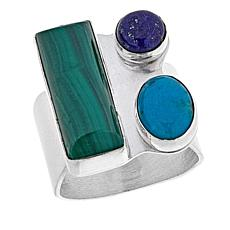 Jay King Turquoise, Lapis and Malachite Sterling Silver Ring
