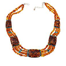 Jay King Ukrainian Amber and Azure Peaks Turquoise Necklace
