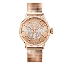 "JBW ""Belle"" Rosetone 12-Diamond Mesh Band Watch"