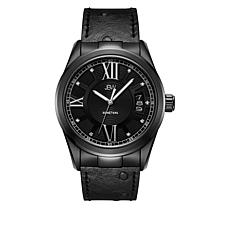 "JBW  ""Bond"" Men's 9-Diamond Black Leather Watch"