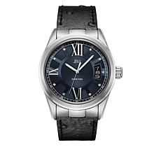 "JBW  ""Bond"" Men's 9-Diamond Navy Blue Leather Watch"